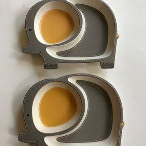 Set of Two Elephant Plates